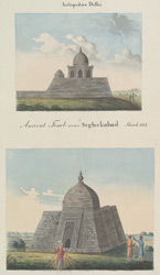 Two sketches of tombs near Tughluqabad, Delhi. Copy of sketches made in 1814